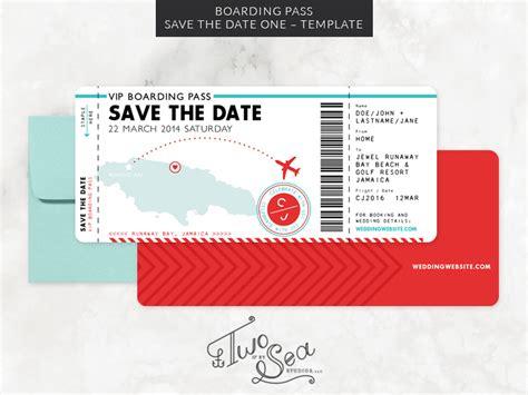 boarding pass save  date template     sea studios