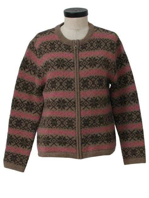 brown pattern sweater nineties vintage sweater 90s frost womens heather tan