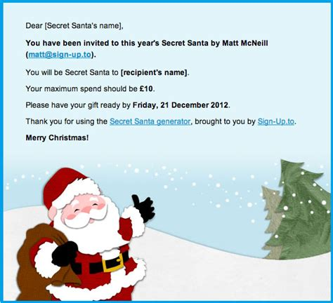 secret santa email template secret santa generator just for sign up to