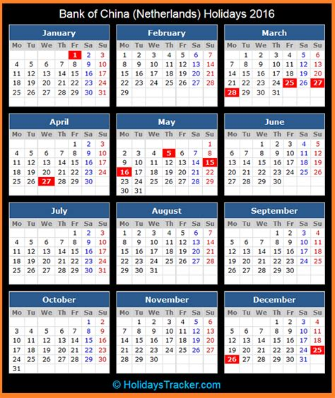 2016 No Calendã Chines Bank Of China Netherlands Holidays 2016 Holidays Tracker