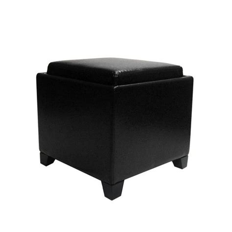black leather storage ottoman with tray armen living contemporary leather storage ottoman with