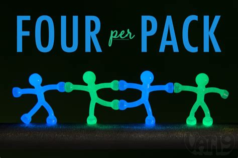 Glow in the Dark Q Man: 4 pack of flexible magnetic men.