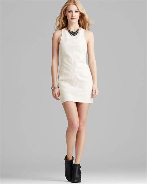 lyst minkpink dress faux leather shift  white