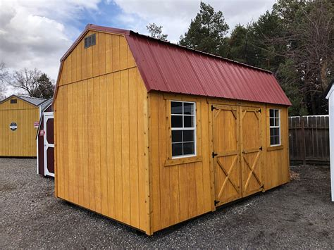 lofted barn style shed  side doors central