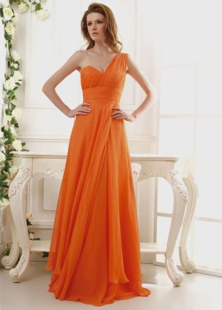 Gorgeous One Shoulder Dresses by 20 Eye Catching Orange Bridesmaid Dress Ideas For Fall