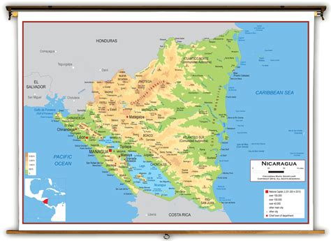 physical map of nicaragua nicaragua geography map