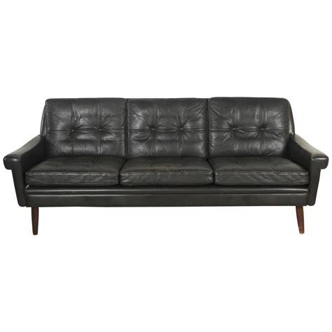 Danish Black Leather Sofa With Tufted Seats In The Style Black Leather Tufted Sofa