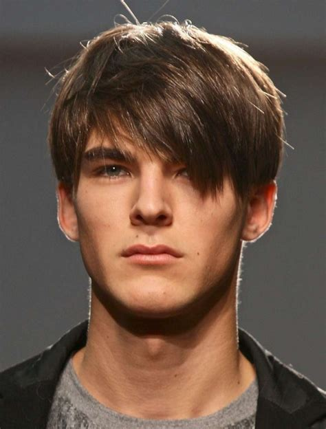 boys swept across fringe hairstyles mens short hair long bangs men s hairstyle with long