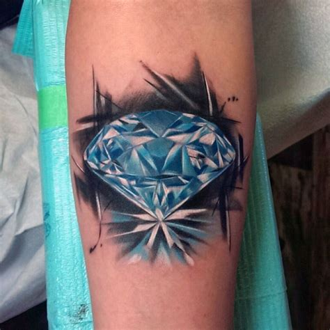 3d diamond tattoo designs 3d blue on arm