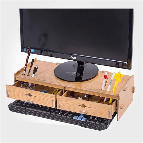 wooden desktop printer stand with drawers desktop monitor stand wooden monitor riser stand double
