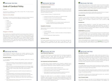code of conduct policy a policy template to outline