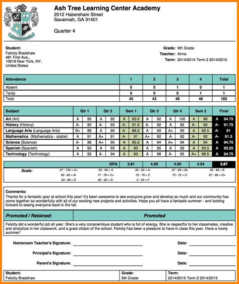 school report templates 8 high school report card template applicationleter