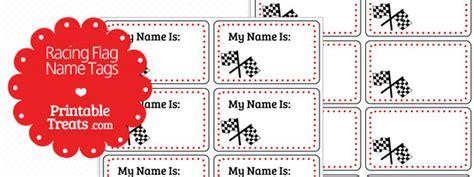 printable race car name tags racing flag name tags printable treats com