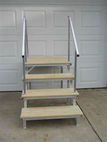 rv stairs with handrails portable rv deck with steps and railings 614 95 picclick