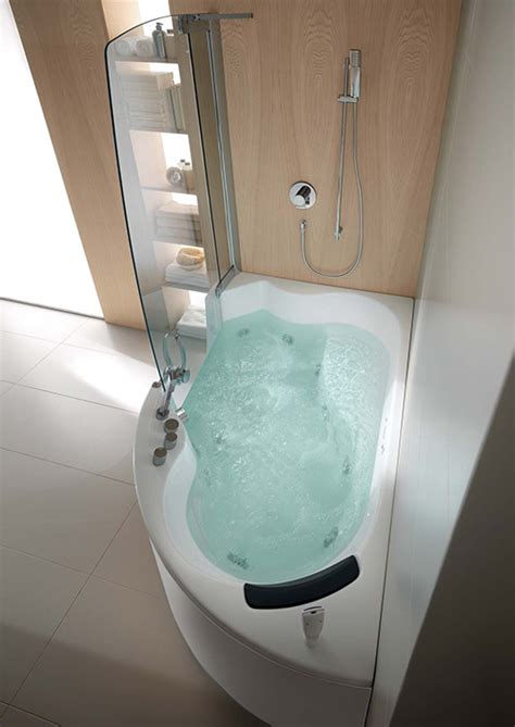 jacuzzi bathtub with shower corner whirlpool shower combo by teuco