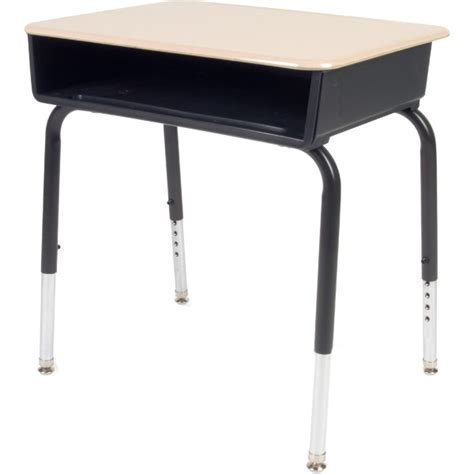 student at a desk 785 open front school desk w plastic top plastic book