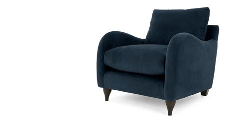 Plush Armchair Sofia Armchair Plush Indigo Velvet Made