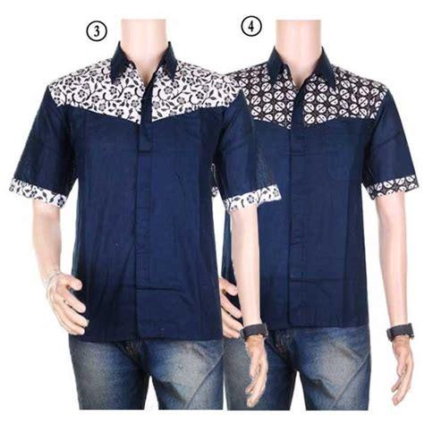 Kemeja Pria Lengan Pendek Hitam Combi List Hem C Grosir baju kemeja lengan pendek hem motif batik kombinasi