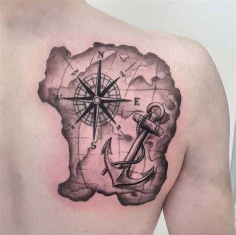 nautical map tattoo 42 friggin amazing compass tattoos anchor tattoos