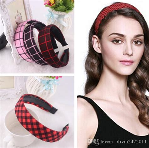 Wide Knit Hair Band 2018 new korean style lattice wide hair bands