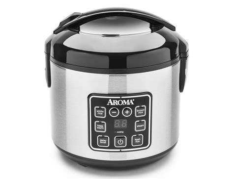 Digital Rice Cooker Boutique 8 cup cooked digital cool touch rice cooker food steamer aroma housewares