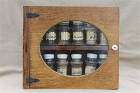 vintage spice set w glass jars for spices wall mount