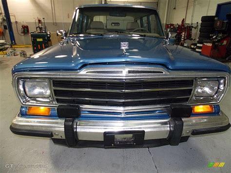 jeep wagoneer blue 1991 spinnaker blue jeep grand wagoneer 4x4 98219022