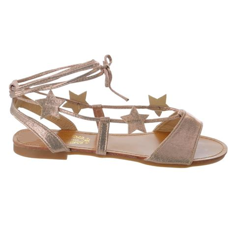 sandals that lace up the leg womens flat tie up leg metallic strappy lace up