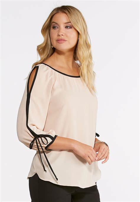 Sleeve Cutout Shirt cutout sleeve top shirts blouses cato fashions