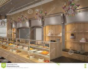 3d visualization of a pastry shop interior design stock