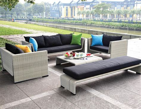 Contemporary Outdoor Patio Seating Beige Wicker Sofa Set Modern Patio Sofa