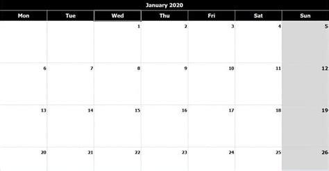 monthly calendar mon start black white excel template exceldatapro