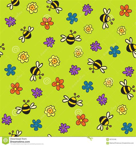 seamless bees and flowers pattern stock vector image