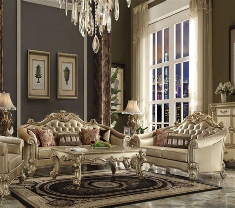 Acme Vendome 53120 Gold Patina Sofa Loveseat Living Room Acme Living Room Furniture