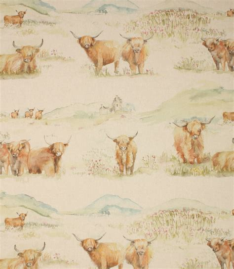 horse patterned roller blinds voyage decoration highland cattle fabric linen just