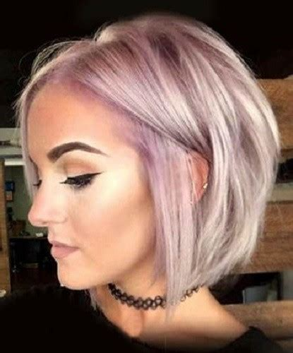 show me styling tips for layered ear length hair lavender textured bob stylish short haircut ideas from