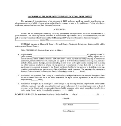 10 hold harmless agreement templates free sle