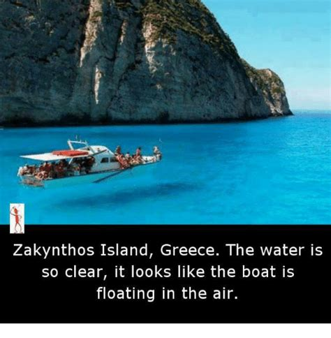 zakynthos floating boat zakynthos island greece the water is so clear it looks