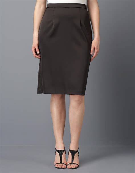 xscape plus size satin pencil skirt in black lyst