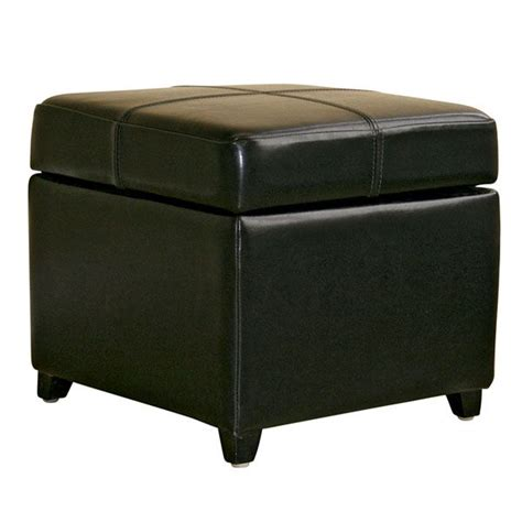 genuine leather storage ottoman breelan leather storage ottoman in black dcg stores