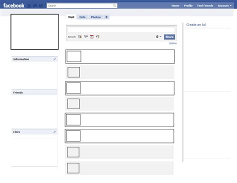 printable facebook profile template online calendar