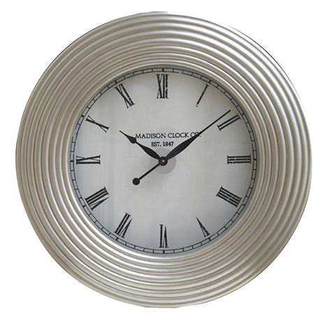 Glass Blown Vases Large Wall Clock With Silver Leaf Accents