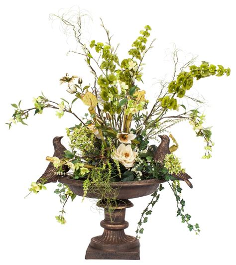 artificial floral arrangements bird bath silk floral arrangement traditional artificial flowers plants and trees by finestems