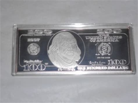 1 Troy Pound Dollar 100 Dollar Note Silver Bar - 1997 washington mint 4 troy oz 999 silver 100 hundred