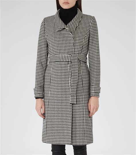 White Shirt Layer Houndstooth reiss rubik houndstooth wrap coat in black for lyst