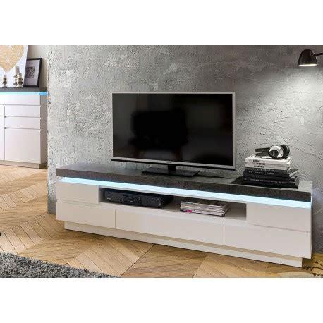 Meuble Tv Effet Beton 4236 by Meuble Tv Design Laqu 233 Blanc Mat Et Effet B 233 Ton 224 Led