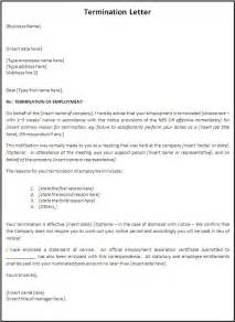 Sles Of Termination Letters To Employee by Termination Letter Template Free Word S Templates