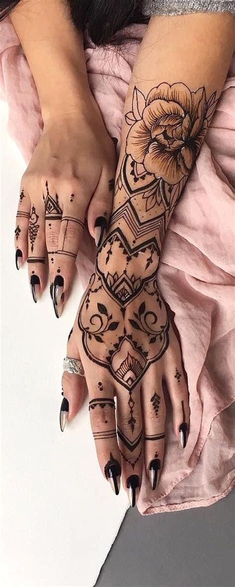 hand tribal tattoo designs black henna tribal bohemian ideas for