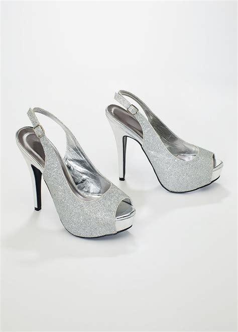 david s bridal wedding bridesmaid shoes glitter peep toe