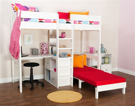 stompa high sleeper with futon bunk beds stompa uno wooden high sleeper with futon